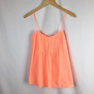 J Crew Pintuck Cami in Neon Orange. Size 2.